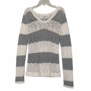 Aeropostale Knitted striped sweater gray white xs